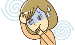 交通事故による、むちうちの症状で悩んでいる女性のイラスト|岡山市北区葉ぐくみ整骨院